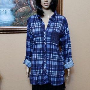 Avenue plaid shirt with doily pocket 22/24